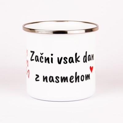 Emajlirani lonček z napisom Nasmeh